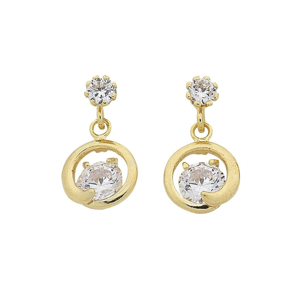 9ct Yellow Gold Silver Infused Cubic Zirconia Drop Earrings
