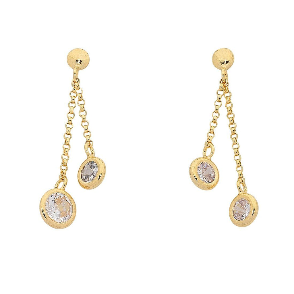 9ct Yellow Gold Silver Infused Double Strand Bezel Set Cubic Zirconia Short Drop Earrings