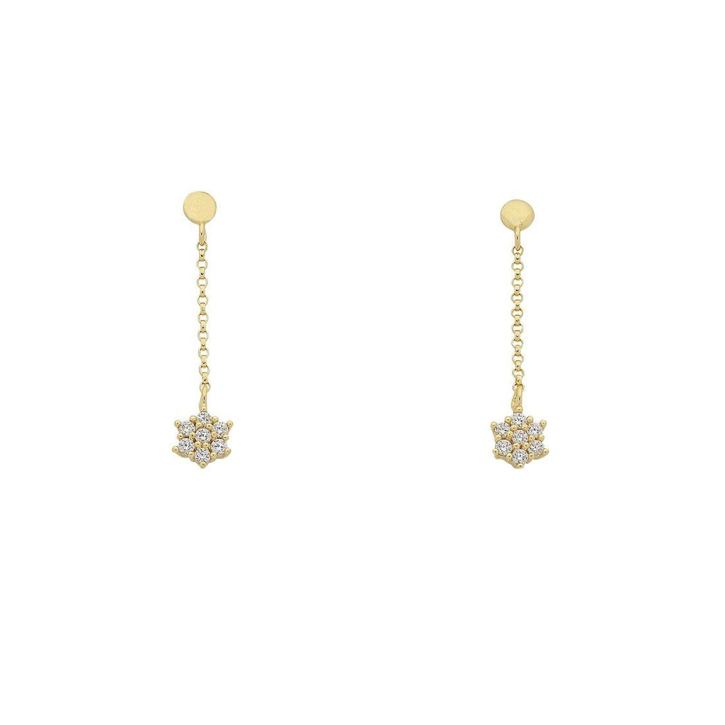 9ct Yellow Gold Silver Infused Cubic Zirconia Star Drop Earrings