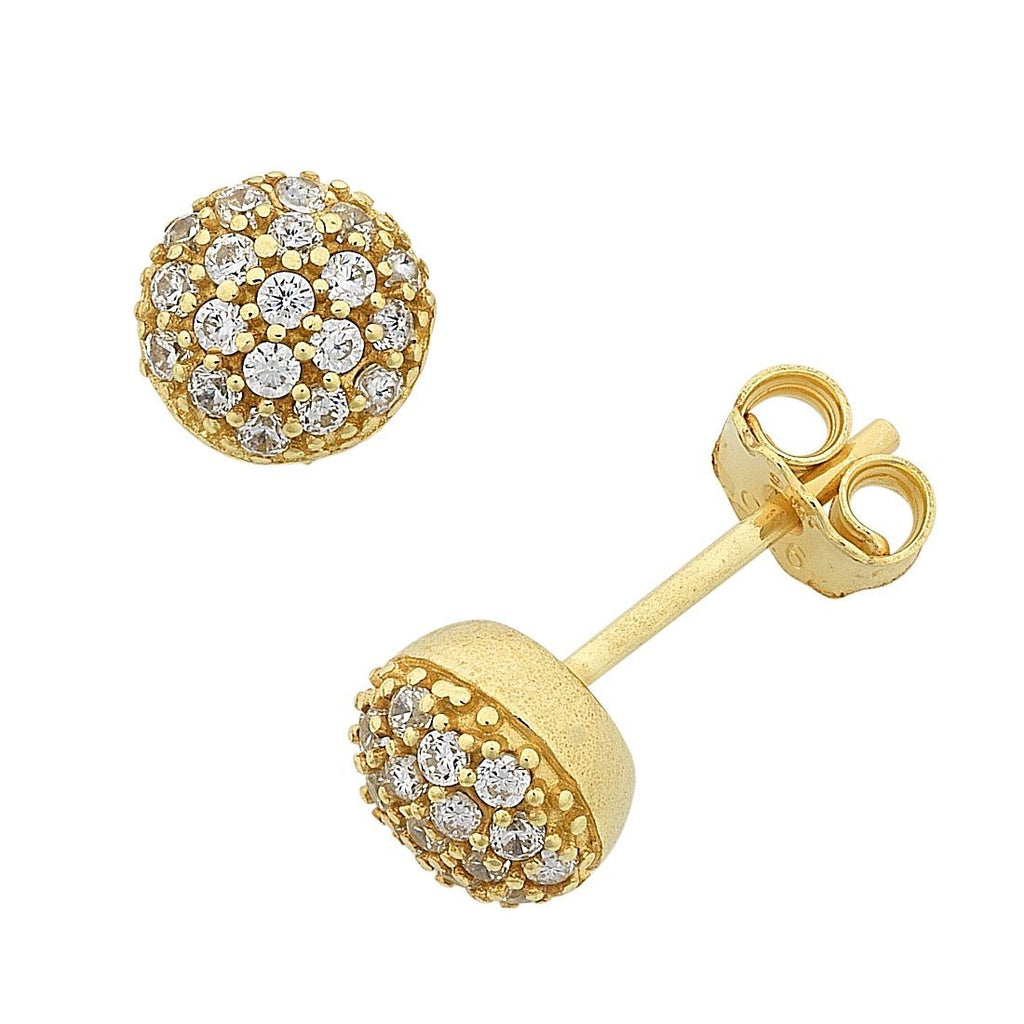 9ct Yellow Gold Silver Infused Cubic Zirconia Round Stud Earrings