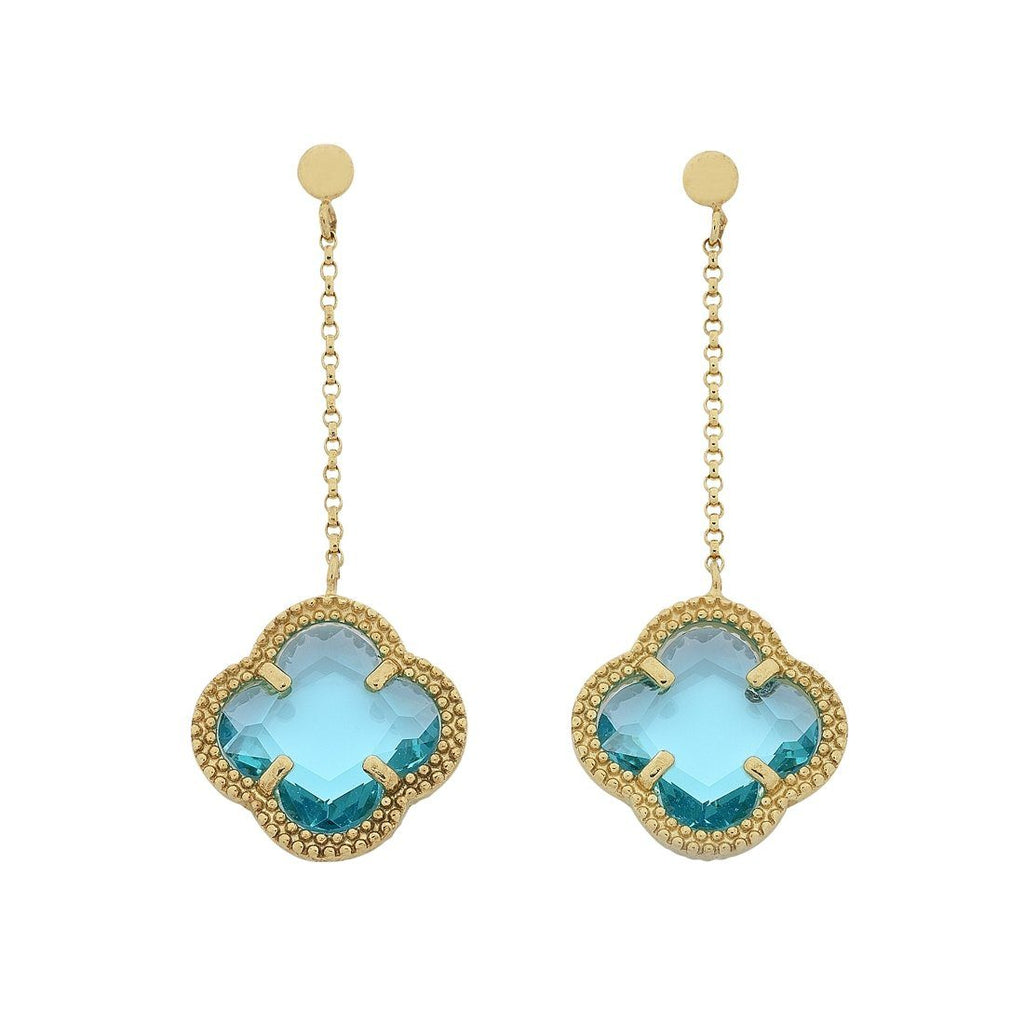 9ct Yellow Gold 4 Leaf Clover Blue Stone Drop Earrings Earrings Bevilles