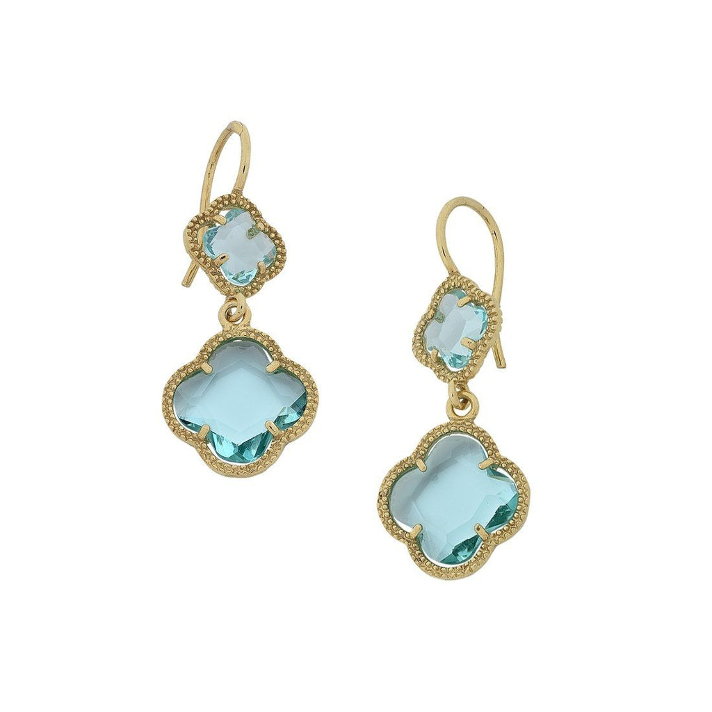 Double 4 Leaf Clover Blue Stone Earrings in 9ct Yellow Gold Silver Infused Earrings Bevilles