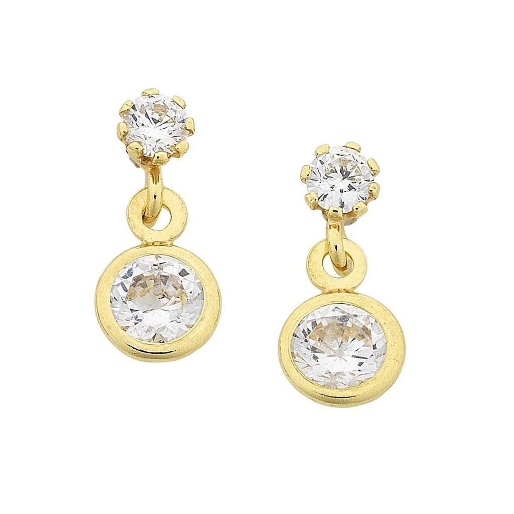 9ct Yellow Gold Silver Infused Double Circle Drop Cubic Zirconia Earrings