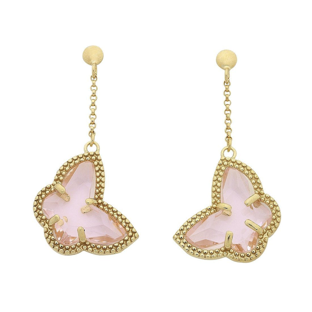 9ct Yellow Gold Silver Infused Milgrain Pink Butterfly Drop Earrings