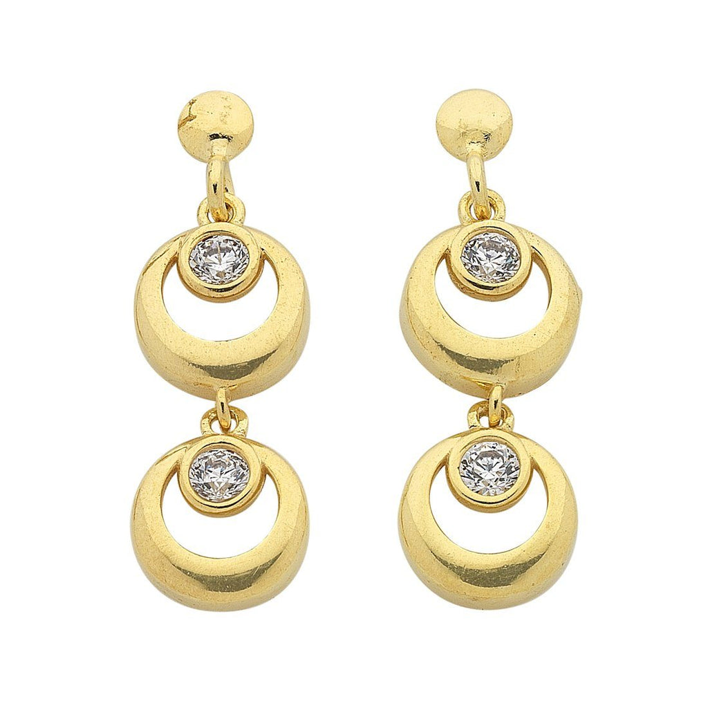 9ct Yellow Gold Silver Infused Double Ring Drop Earrings Earrings Bevilles