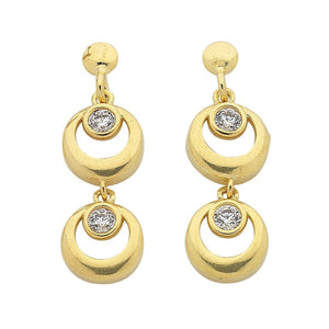 9ct Yellow Gold Silver Infused Double Ring Drop Earrings