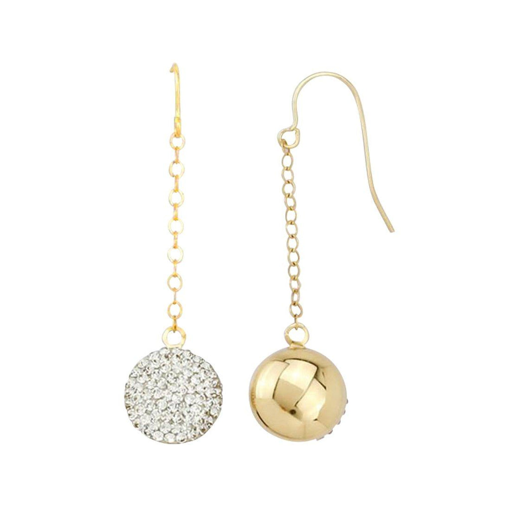9ct Yellow Gold Silver Infused Crystal Ball Drop Earrings Earrings Bevilles