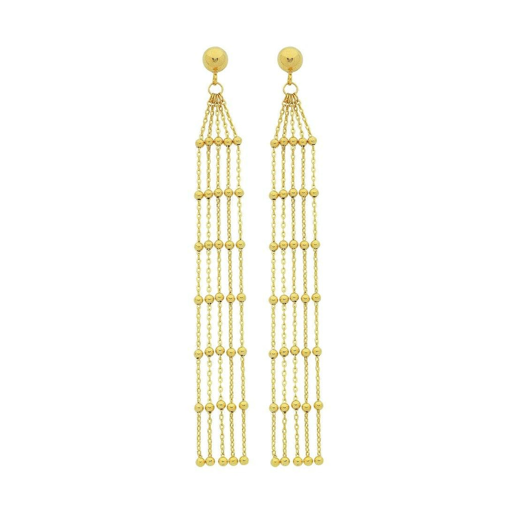 9ct Yellow Gold Silver Infused 4 Strand Drop Earrings