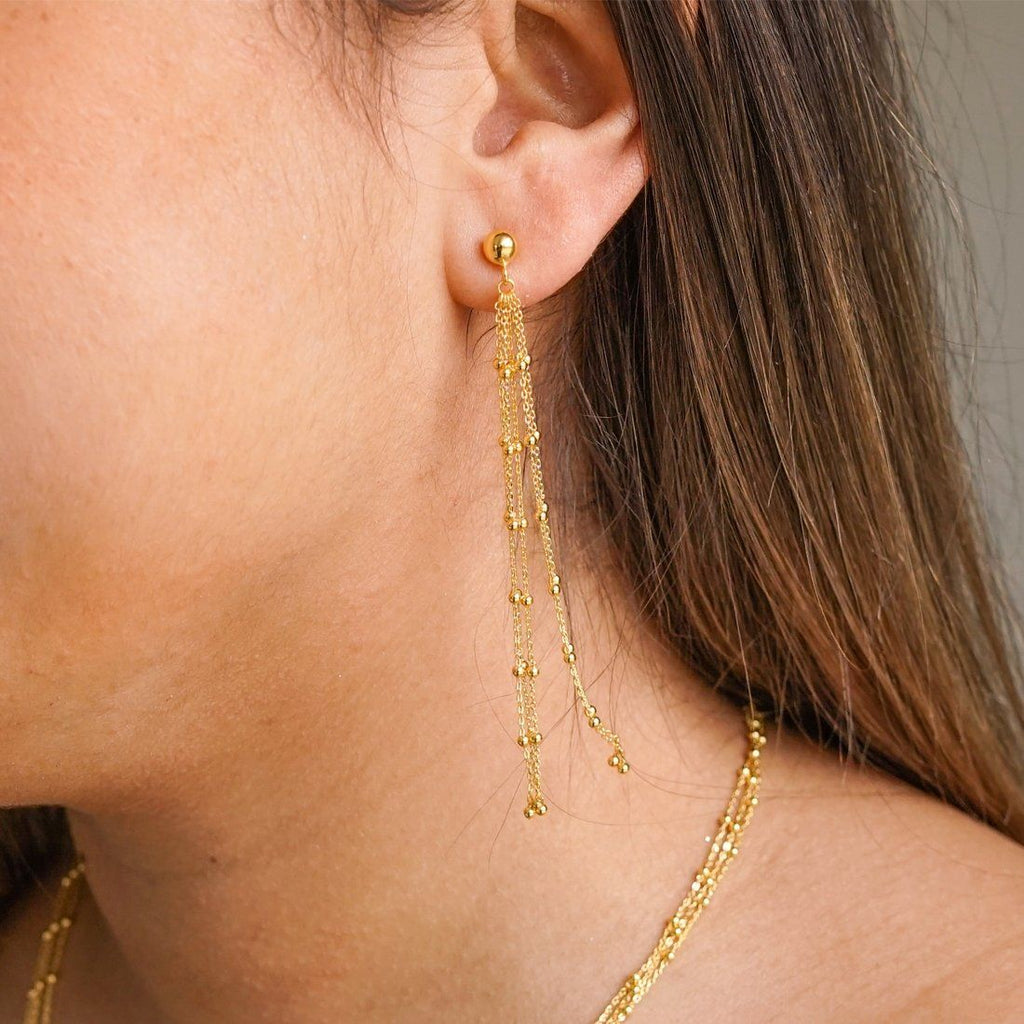 9ct Yellow Gold Silver Infused 4 Strand Drop Earrings Earrings Bevilles