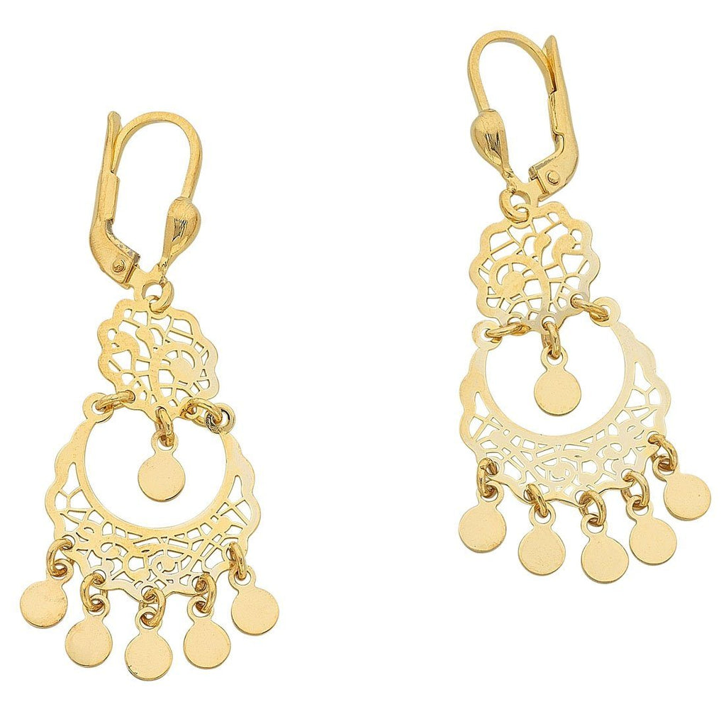 9ct Yellow Gold Silver Infused Filigree Drop Earrings
