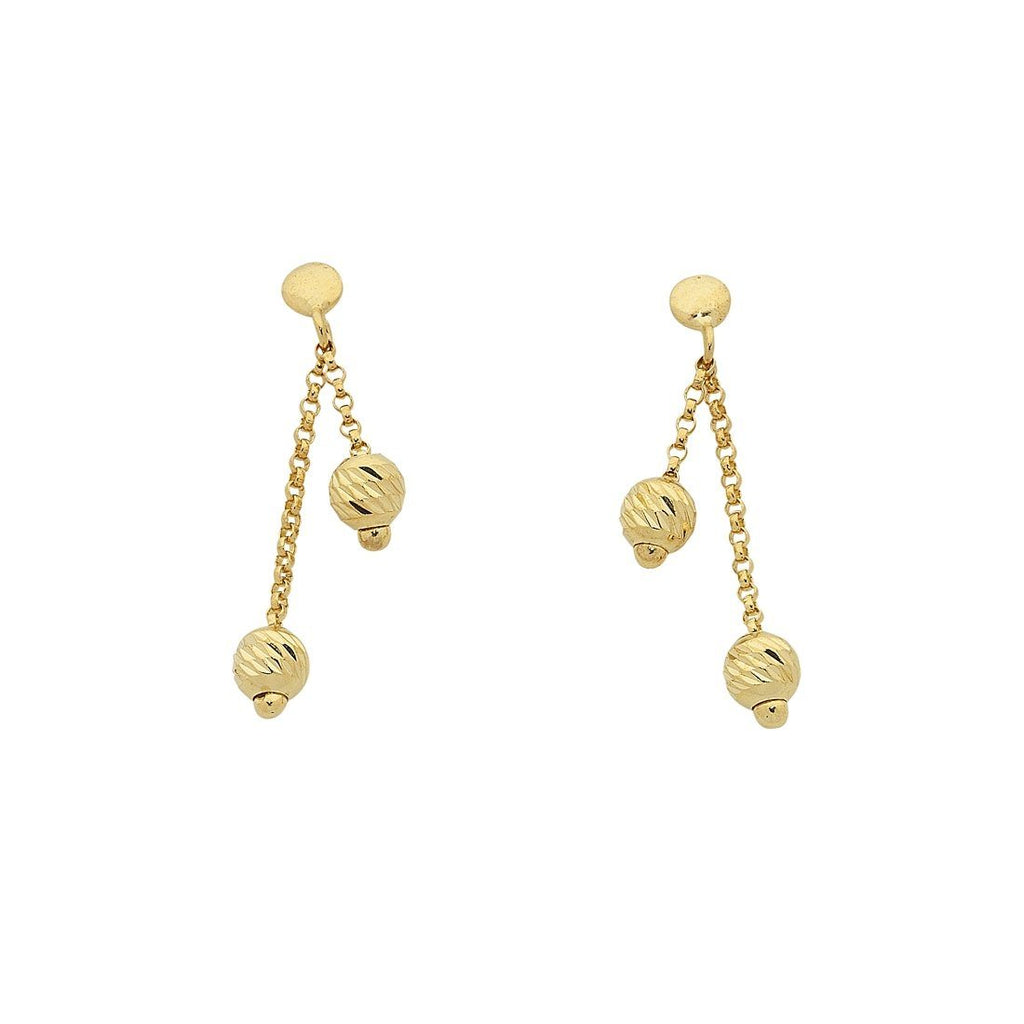 9ct Yellow Gold Silver Infused Double Ball Dangle Drop Earrings