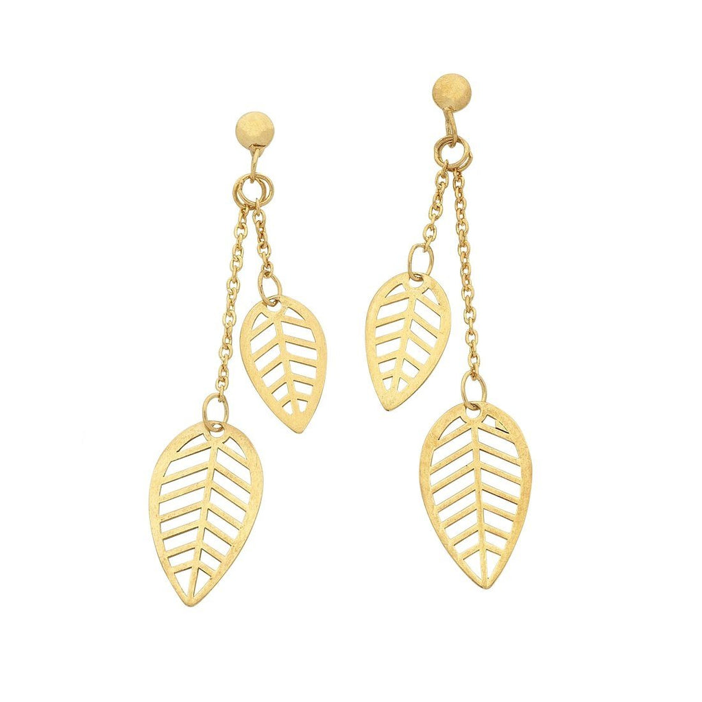 9ct Yellow Gold Silver Infused Double Leaf Earrings