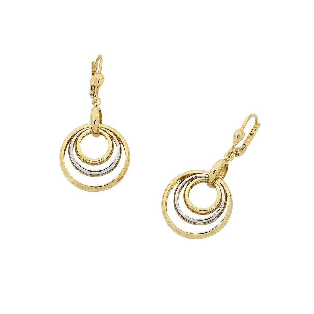 9ct Yellow Gold Silver Infused Two Tone Earrings Earrings Bevilles