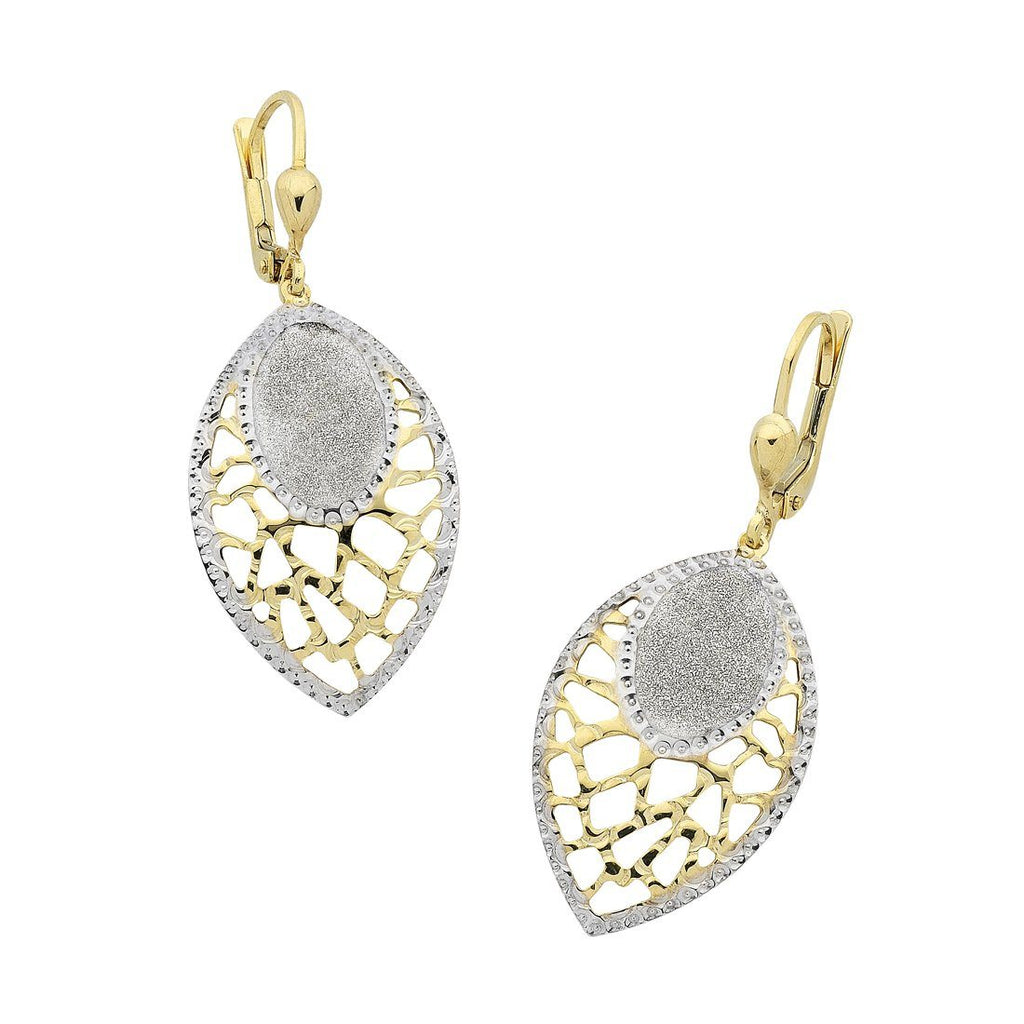9ct Yellow Gold Silver Infused Stardust Filigree Drop Earrings Earrings Bevilles