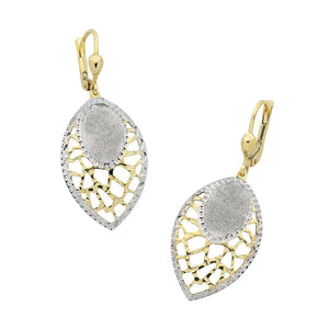 9ct Yellow Gold Silver Infused Stardust Filigree Drop Earrings