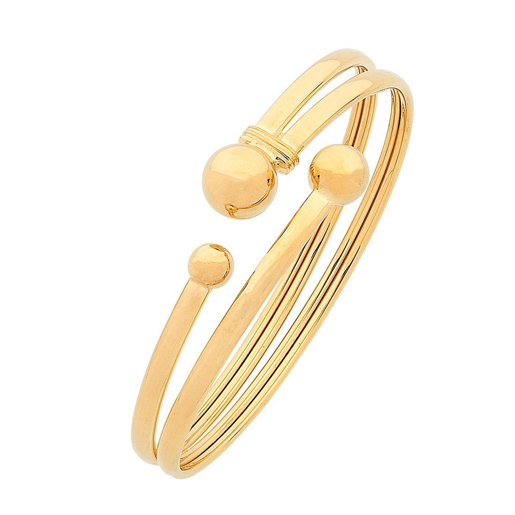 9ct Yellow Gold Silver Infused Double Bangle Bracelets Bevilles
