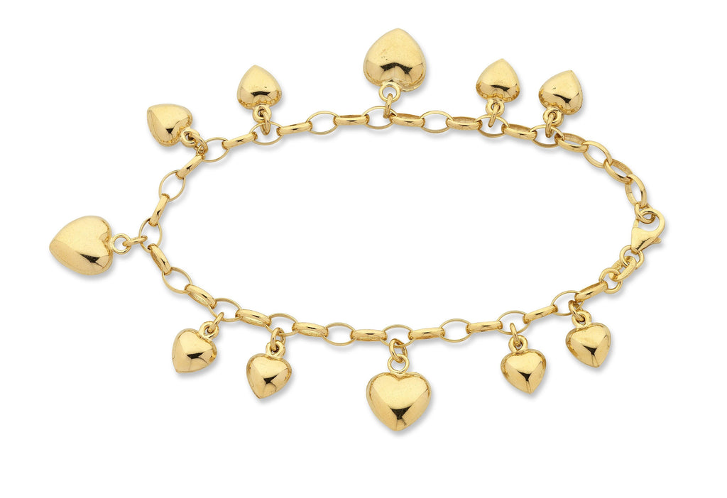 9ct Yellow Gold Silver infused Heart Charm Bracelet