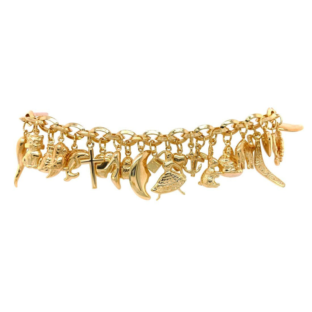 9ct Yellow Gold Silver Filled Charm Bracelet Bracelets Bevilles