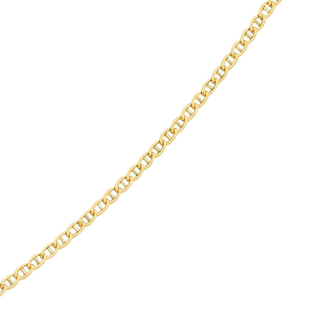 9ct Yellow Gold Silver Infused Anchor Chain Necklace 50cm Necklaces Bevilles