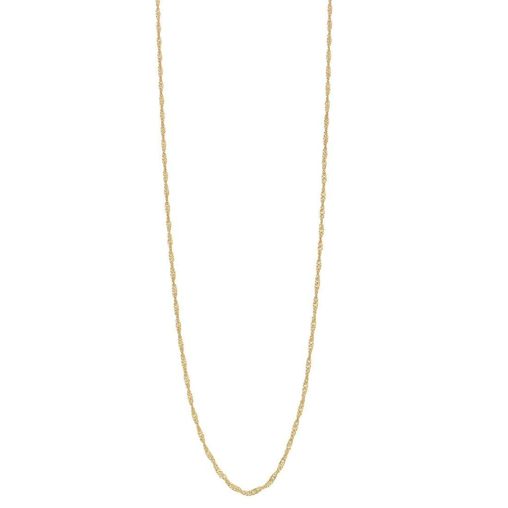 9ct Yellow Gold Silver Infused Singapore Twist Necklace 55cm Necklaces Bevilles
