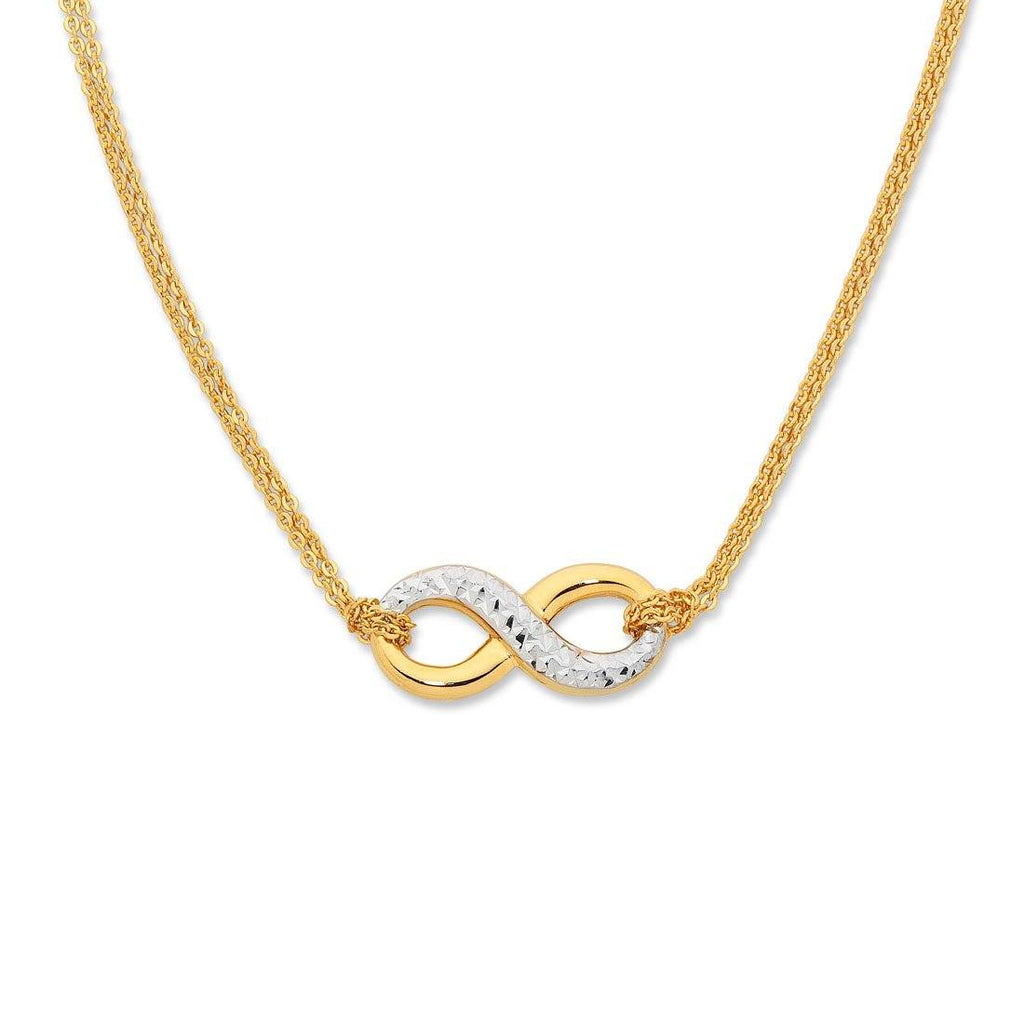 9ct Two Tone Silver Infused Infinity Necklace Necklaces Bevilles