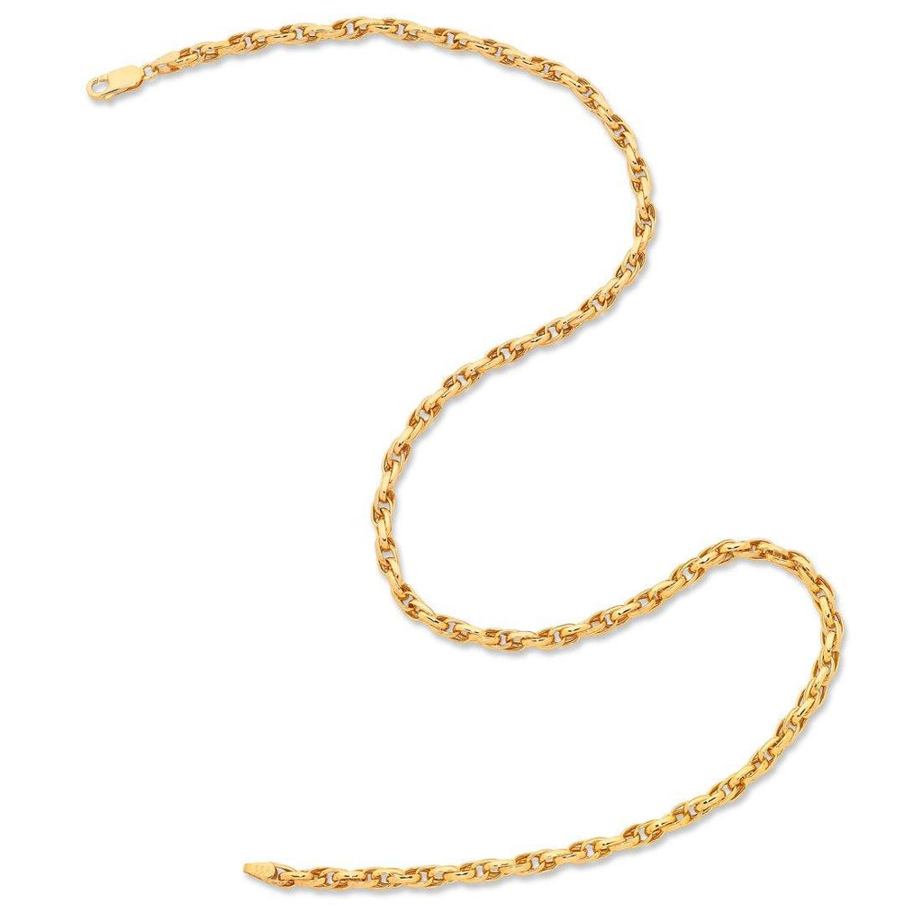 9ct Yellow Gold Silver Infused Double Belcher Necklace Necklaces Bevilles