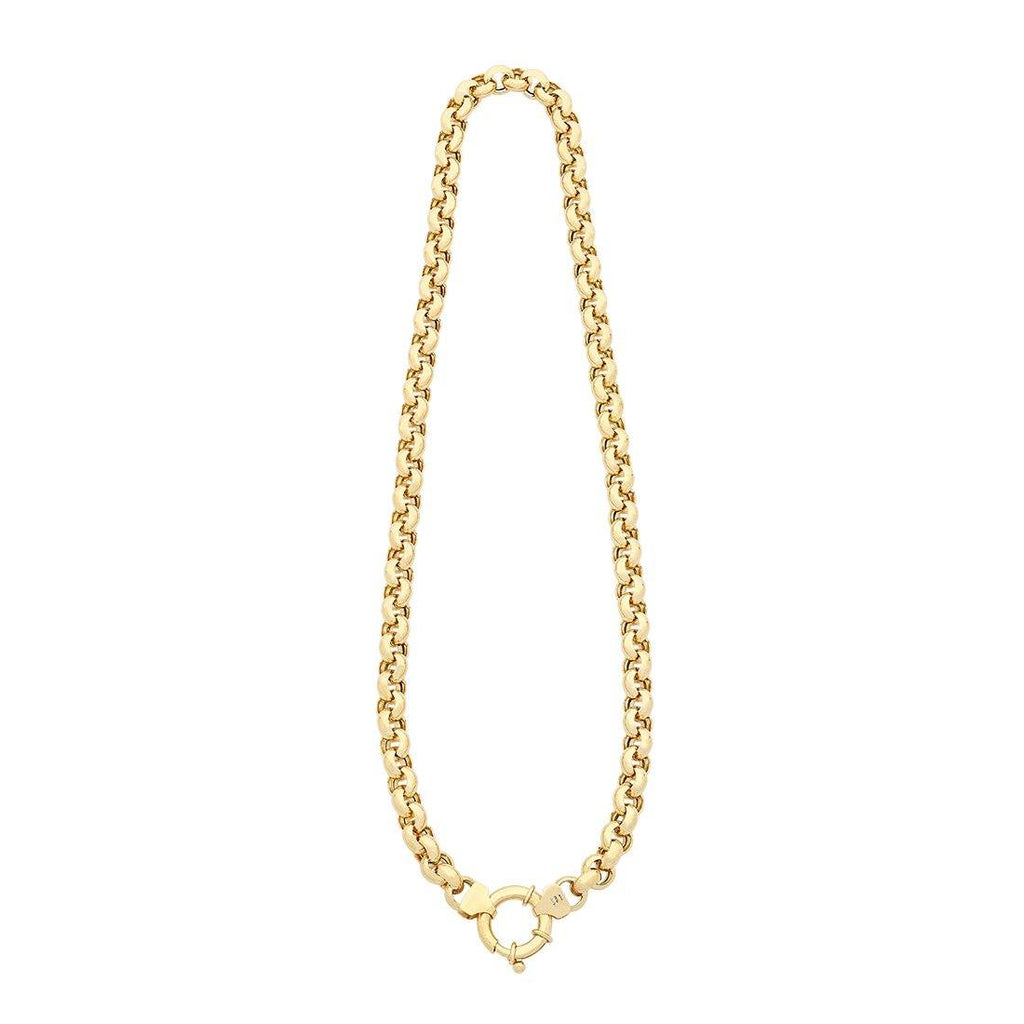 9ct Yellow Gold Silver Infused Belcher Necklace with Bolt Ring