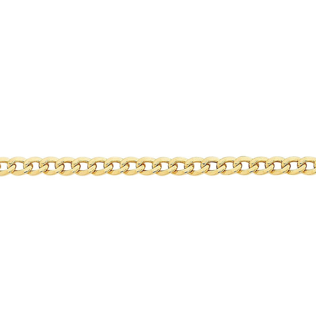 9ct Yellow Gold Silver Infused Curb Anklet