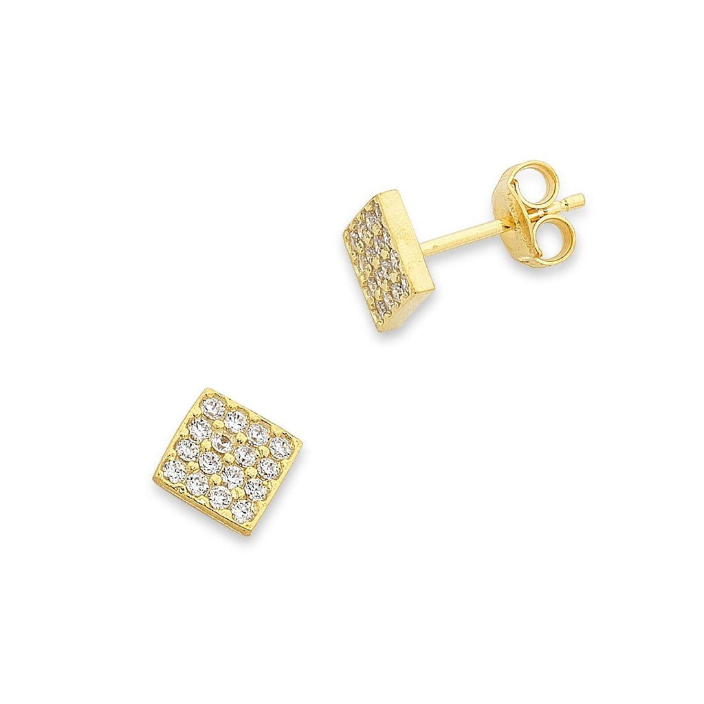9ct Yellow Gold Silver Infused 5mm Cubic Zirconia Stud Earrings Earrings Bevilles