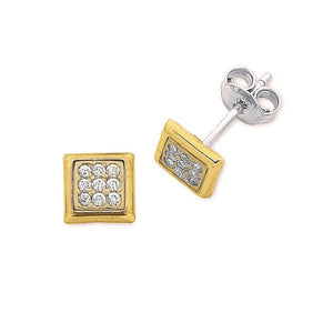 9ct Yellow Gold Silver Infused Pave Stud Earrings