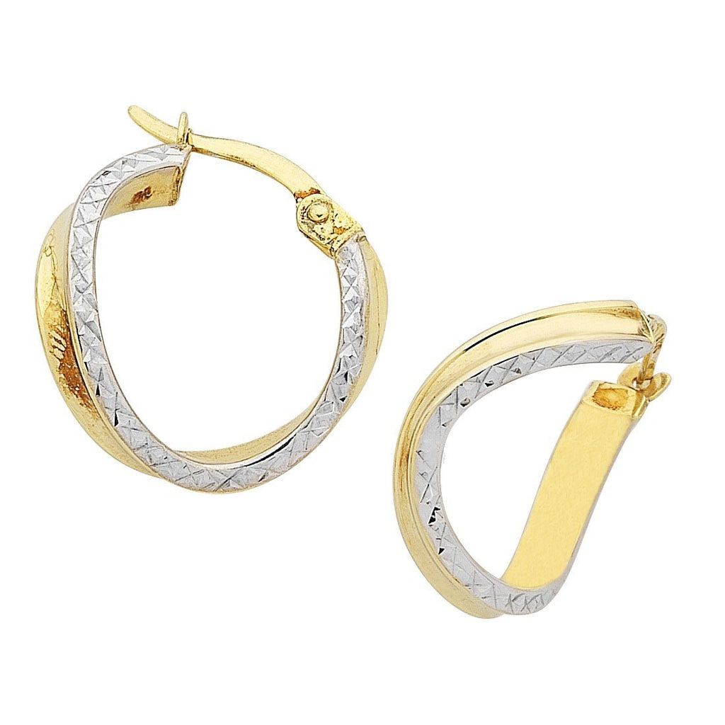 9ct Yellow Gold Silver Infused Curved Earrings Earrings Bevilles