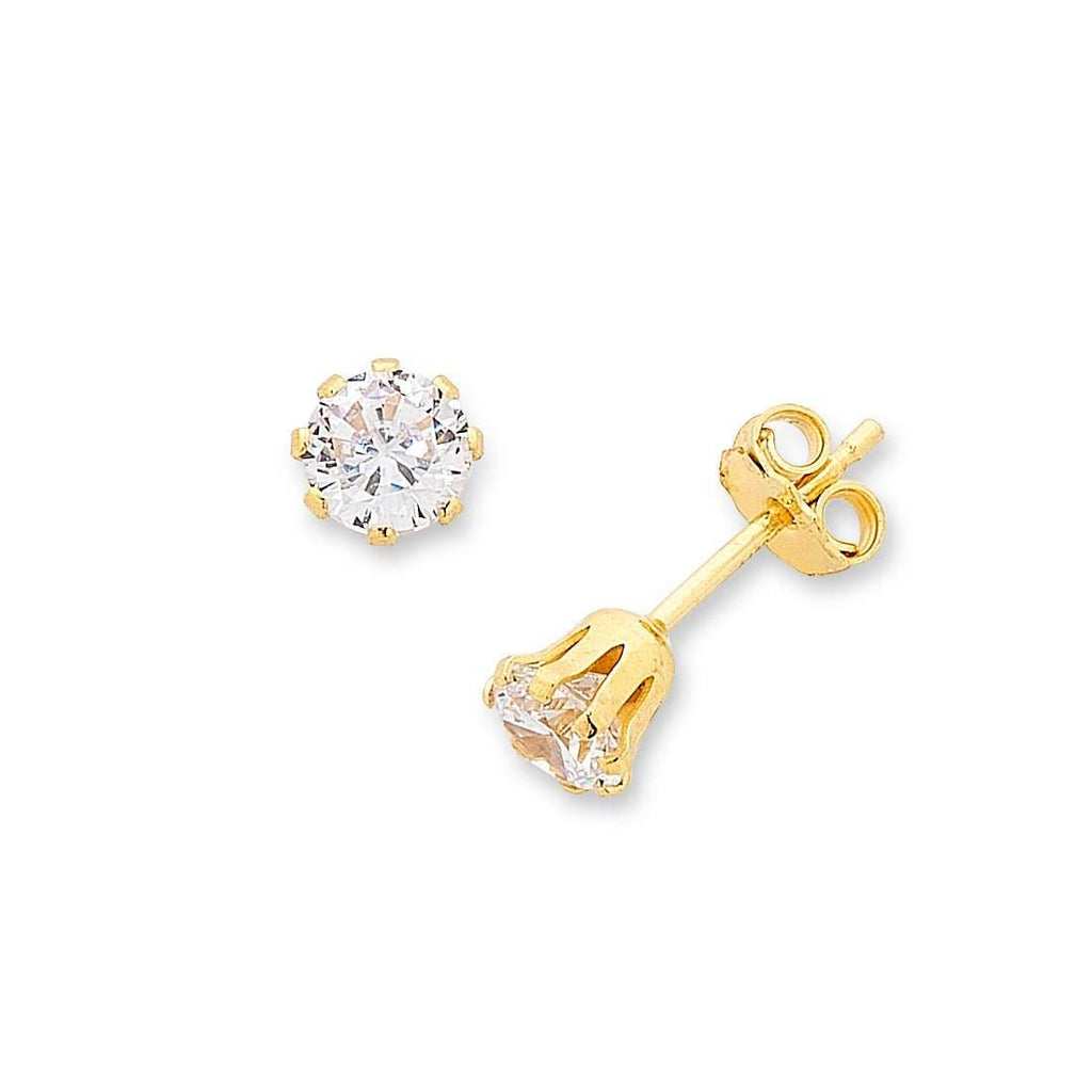 9ct Yellow Gold Silver Infused Cubic Zirconia Stud Earrings - 4mm