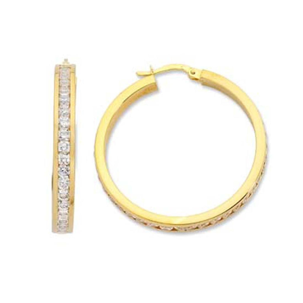 9ct Yellow Gold Silver Infused Cubic Zirconia 35mm Hoop Earrings