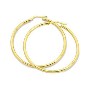9ct Yellow Gold Silver Infused Plain Hoop Earrings 20mm