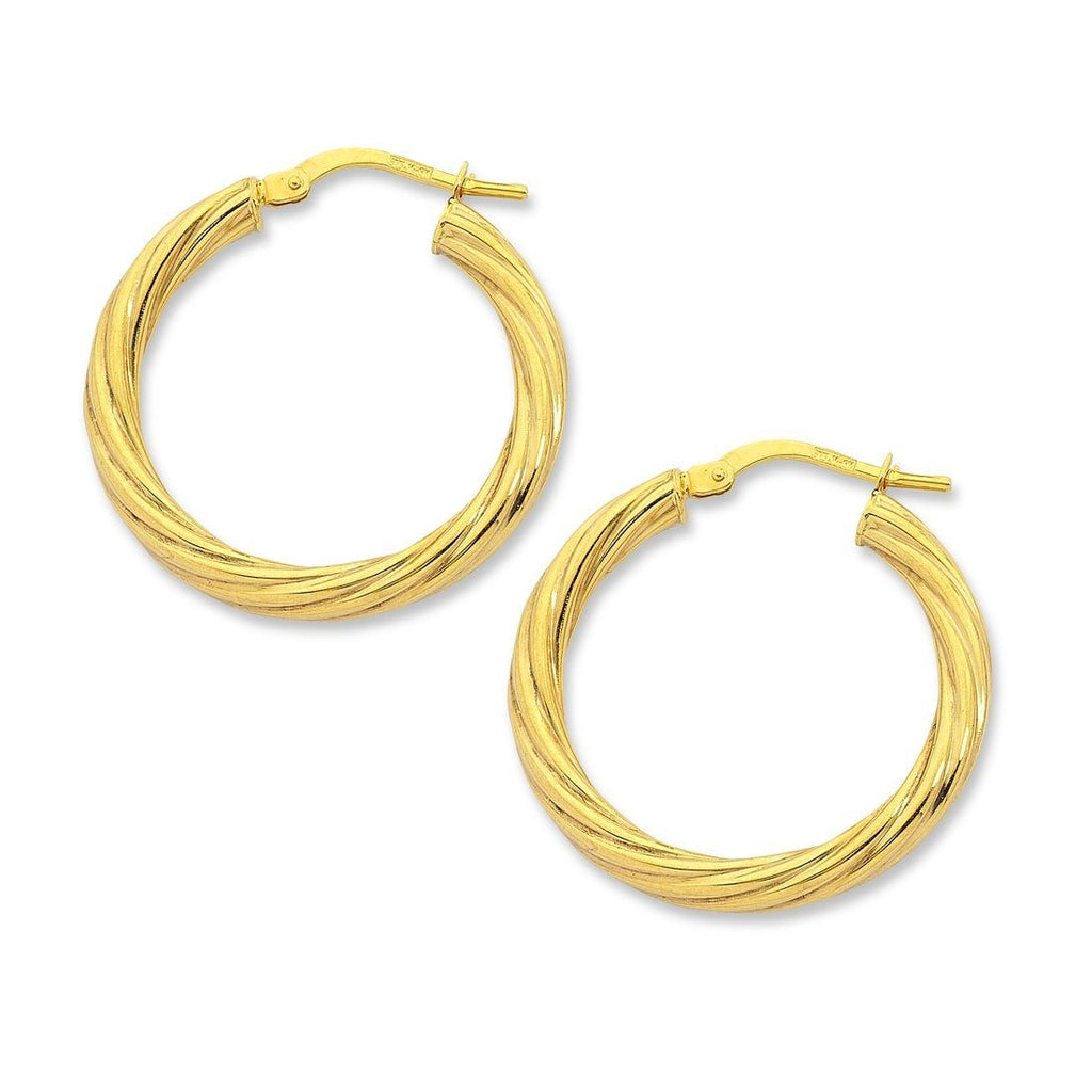 9ct Yellow Gold Silver Infused Twist Hoop Earrings 10mm Earrings Bevilles