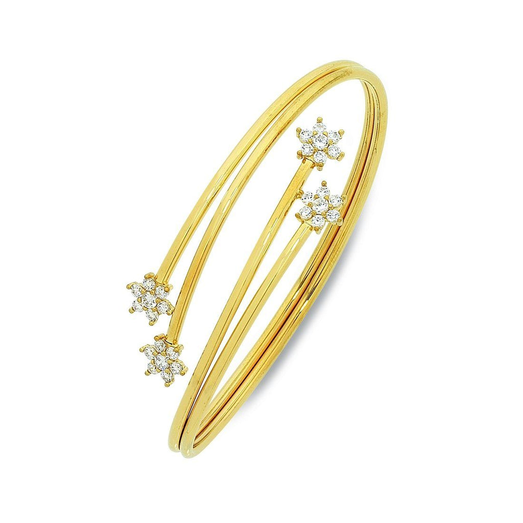 9ct Yellow Gold Silver Infused Bangle with Cubic Zirconia Flower Ends