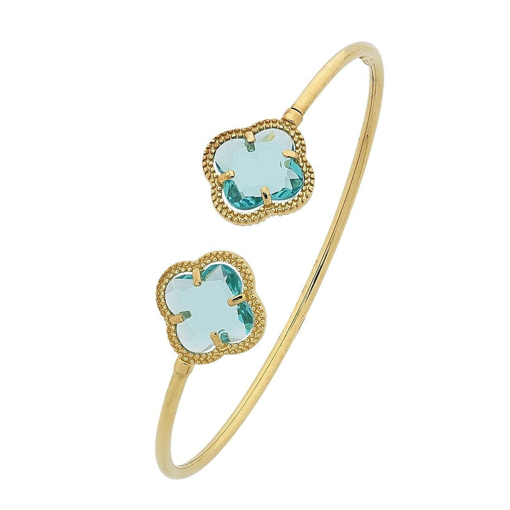 9ct Yellow Gold 4 Leaf Clover Blue Stone Cuff Bangle Bracelets Bevilles