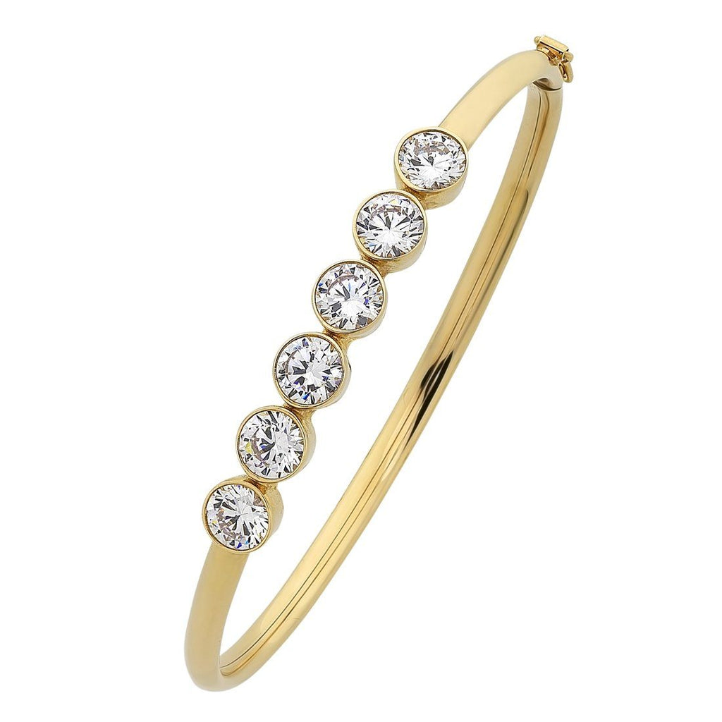 9ct Yellow Gold Silver Infused 6 Bezel Cubic Zirconia Oval Bangle Bracelets Bevilles