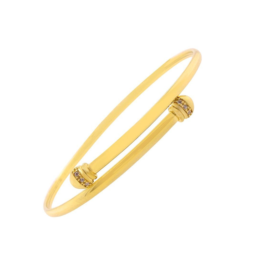 9ct Yellow Gold Silver Infused Cubic Zirconia Bangle