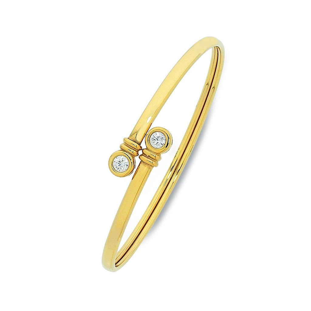 9ct Yellow Gold Silver Infused Bangle with Bezel Set Cubic Zirconia Ends Bracelets Bevilles