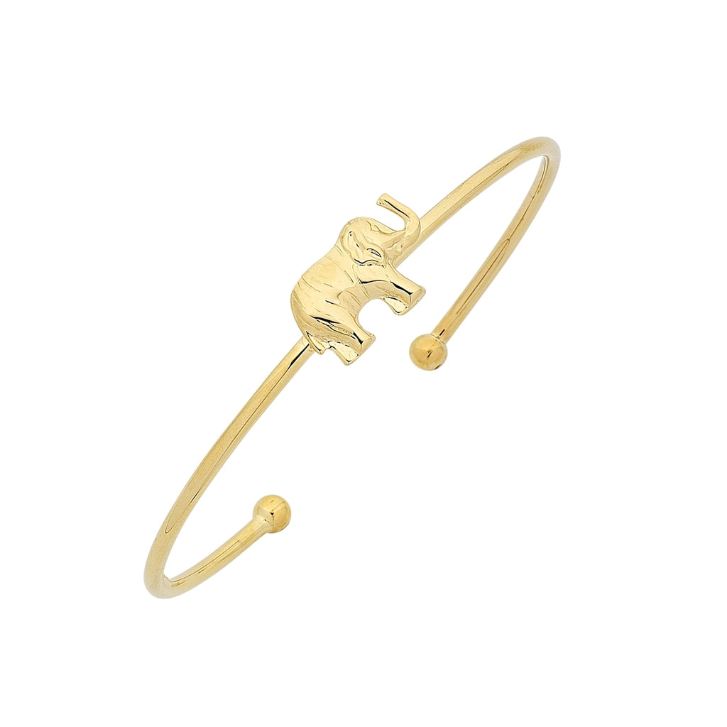 9ct Yellow Gold Silver Infused Elephant Cuff Bangle