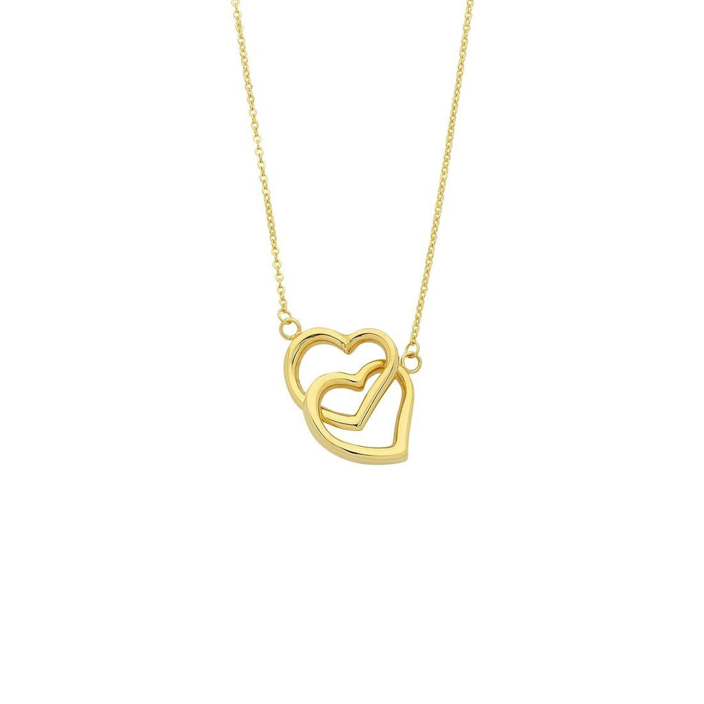 9ct Yellow Gold Silver Infused Twin Hearts Necklace
