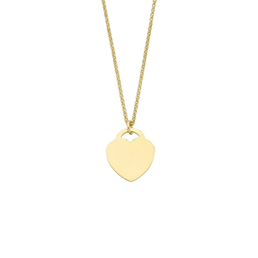 9ct Yellow Gold Silver Infused Flat Heart Necklace