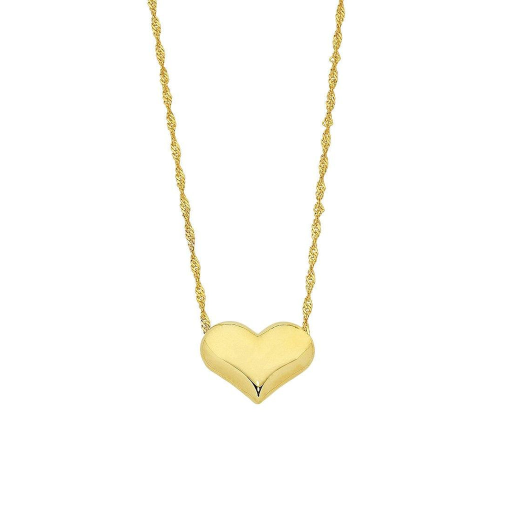 9ct Yellow Gold Silver Infused Puff Heart Necklace Necklaces Bevilles