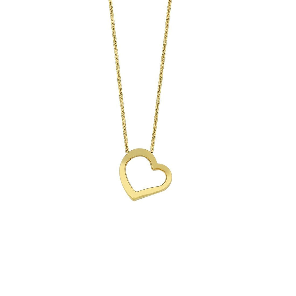 9ct Yellow Gold Silver Infused Open Floating Heart Necklace