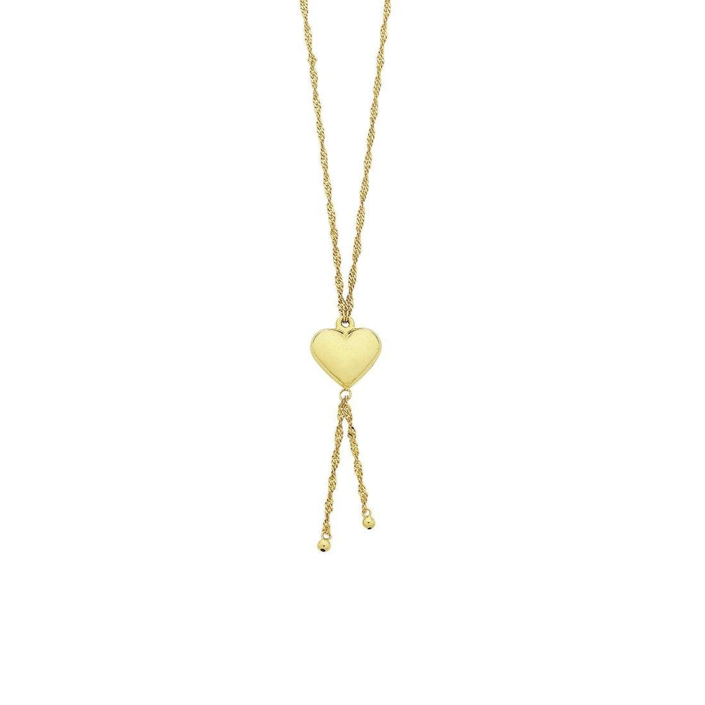 9ct Yellow Gold Silver Infused Singapore Chain Heart Necklace