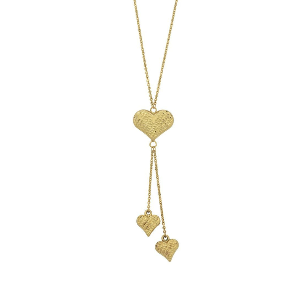 9ct Yellow Gold Silver Infused Puff Heart Drop Necklace