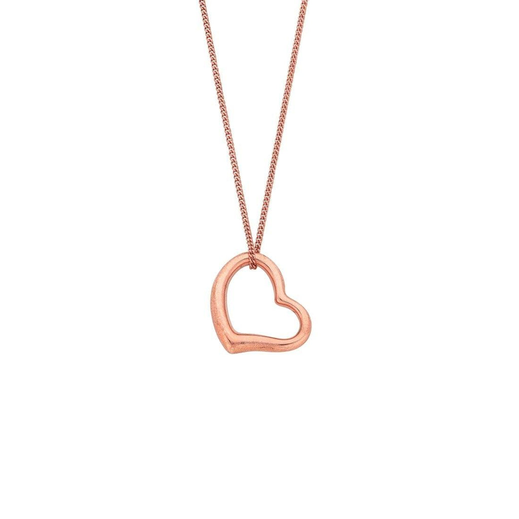 9ct Rose Gold Silver Infused Floating Open Heart Necklace