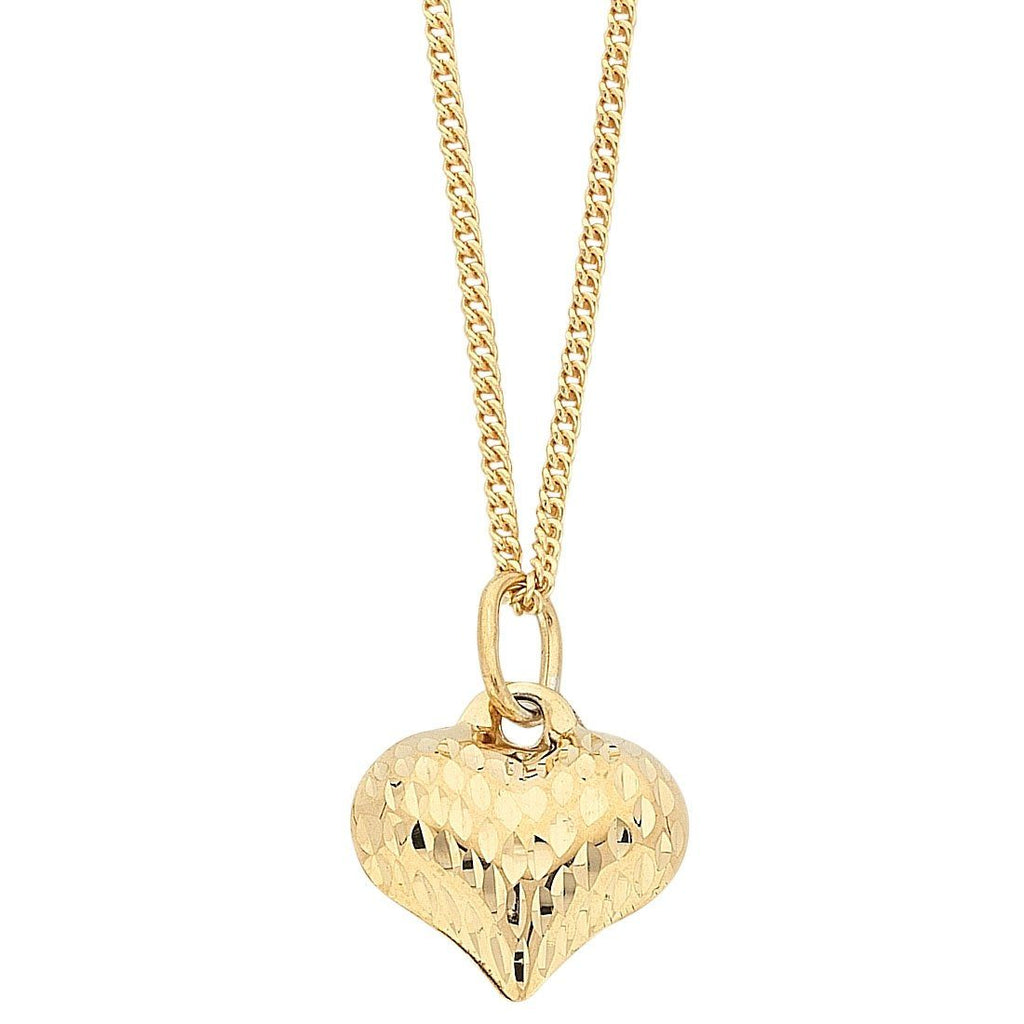 9ct Yellow Gold Silver Infused Diamond Cut Puff Heart Pendant Necklace
