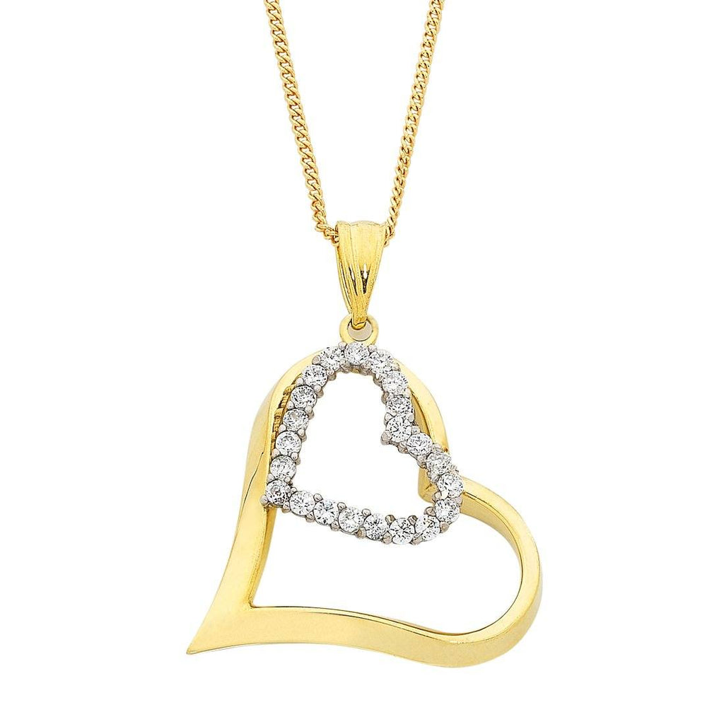 9ct Gold Silver Infused and Cubic Zirconia Double Heart Pendant